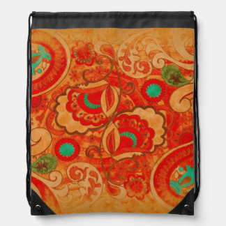 Funky Burnt Orange Red Turquoise Vintage Paisley Drawstring Bag