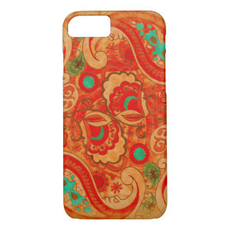 Funky Burnt Orange Red Turquoise Vintage Paisley iPhone 8/7 Case