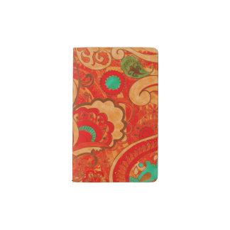 Funky Burnt Orange Red Turquoise Vintage Paisley Pocket Moleskine Notebook