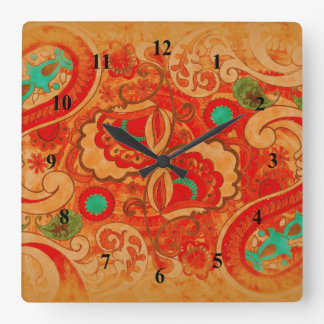 Funky Burnt Orange Red Turquoise Vintage Paisley Square Wall Clock