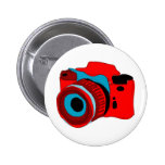 Funky camera graphic illustration 6 cm round badge