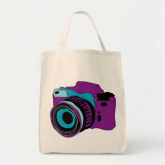 Funky camera graphic illustration tote bag