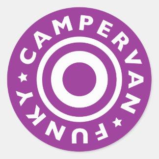 Funky Campervan Classic Round Sticker