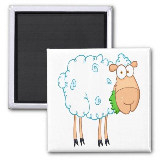 funky cartoon white sheep refrigerator magnet