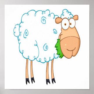 funky cartoon white sheep print
