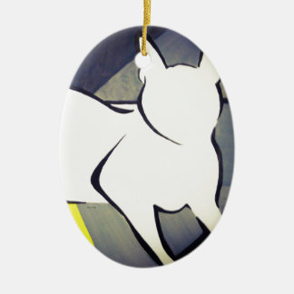Funky Cat Ceramic Oval Decoration