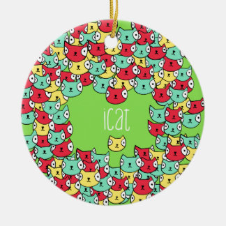 Funky cat pattern christmas ornament
