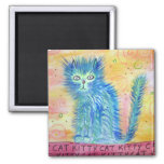 Funky Cat Square Magnet