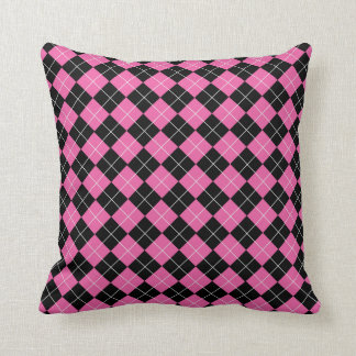 Funky Cerise Pink and Black Argyle Plaid Pattern Cushion