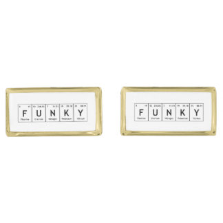 FUNKY Chemistry Periodic Table Words Elements Atom Gold Finish Cufflinks