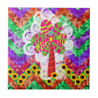 Funky Chevron Mosaic Tree Swirls Sunflowers Summer Small Square Tile