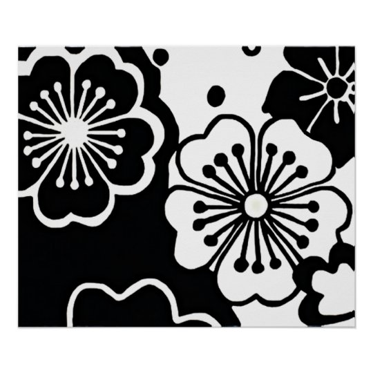 Funky Chic Retro Abstract Sixties Floral Pattern Poster