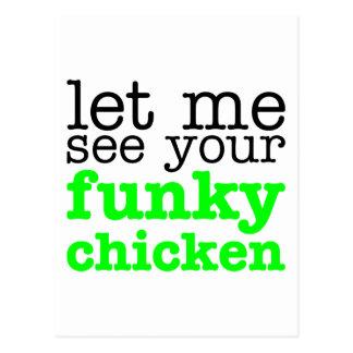 Funky Chicken Green Postcard