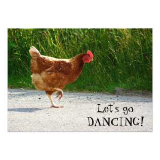 Funky Chicken - Let s Go Dancing Custom Invite