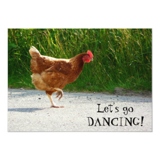 Funky Chicken - Let's Go Dancing! 13 Cm X 18 Cm Invitation Card