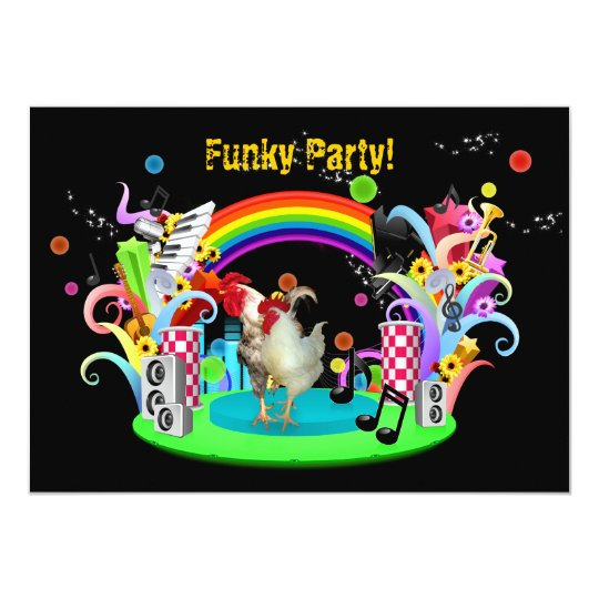 Funky Chicken Party invitation