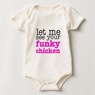 Funky Chicken Pink Baby Bodysuit