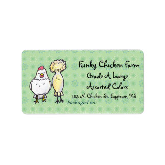 Funky Chickens Egg Label