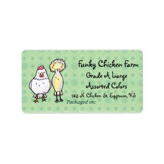 Funky Chickens Egg Label Address Label