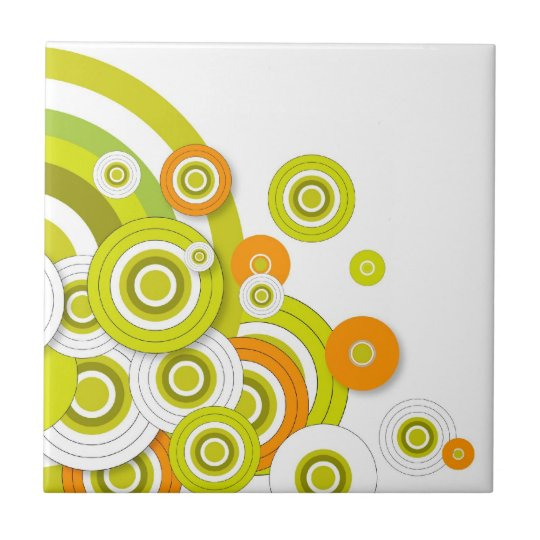 Funky circles green and orange customised products small