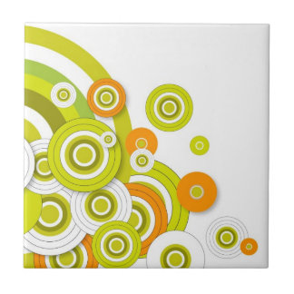 Funky circles green and orange customised products tile