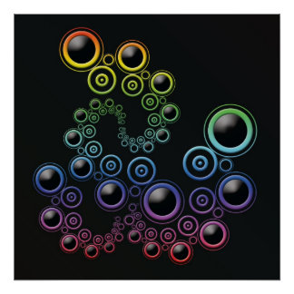 Funky Circles Original Digital Art Poster