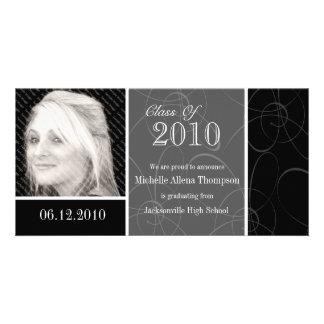 Funky Classic Black Swirls Graduation Photo Card
