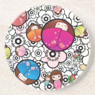 Funky Coasters with Japanese Kokeshi Dolls