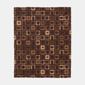 Funky coffee mosaic fleece blanket