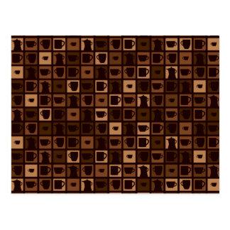 Funky coffee mosaic postcard