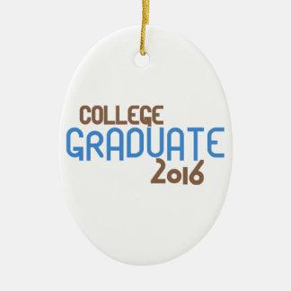 Funky College Graduate 2016 (Blue) Ceramic Oval Decoration