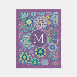 Funky Colorful Floral Pattern Custom Monogram Fleece Blanket