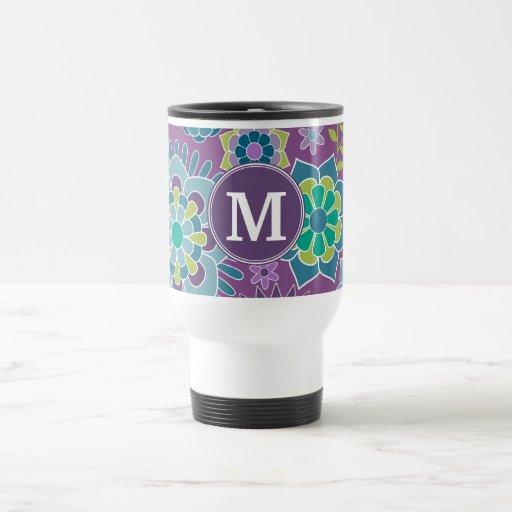 Funky Colorful Floral Pattern Custom Monogram Mug