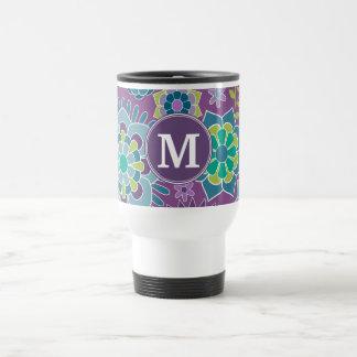 Funky Colorful Floral Pattern Custom Monogram Stainless Steel Travel Mug