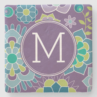 Funky Colorful Floral Pattern Custom Monogram Stone Coaster