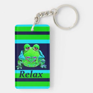 Funky Colorful Frog RELAX Teal Lime Navy Double-Sided Rectangular Acrylic Key Ring