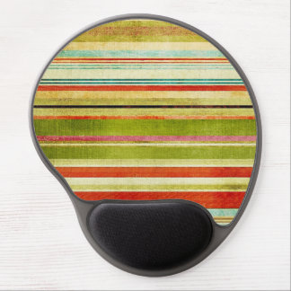 Funky Colorful Horizontal Grunge Stripes Pattern Gel Mouse Mat