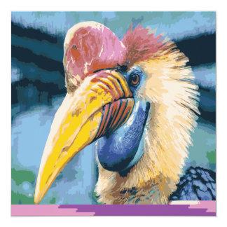 Funky Colorful Hornbill Tropical Bird Art Invite
