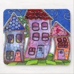 Funky Colorful Houses Mousepad