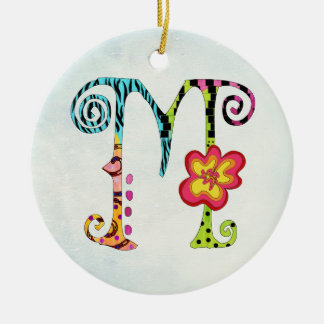 Funky Colorful Monogramed M ornament