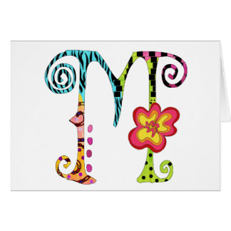 Funky Colorful Monogramed Notecards Stationary Greeting Cards