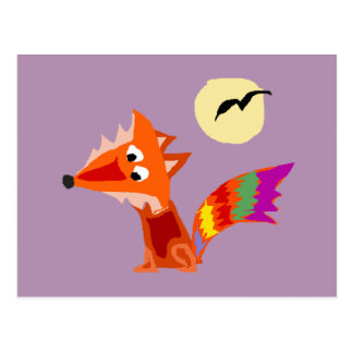 Funky Colorful Red Fox Art Design Postcard