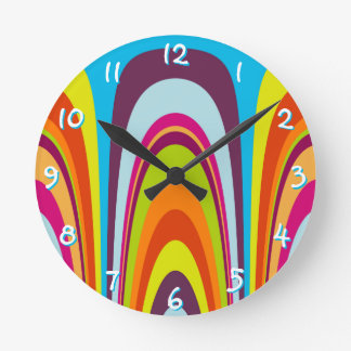 Funky Colorful Retro Wave Art Pattern Round Clock
