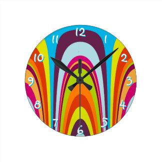 Funky Colorful Retro Wave Art Pattern Wall Clocks