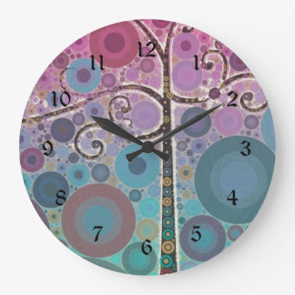 Funky Colorful Scroll Tree Circles Bubbles Pop Art Large Clock