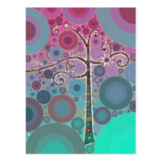 Funky Colorful Scroll Tree Circles Bubbles Pop Art Postcard