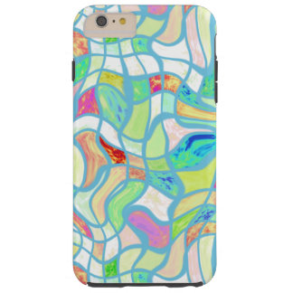 Funky Colorful Warped Twisted Squares Pattern Tough iPhone 6 Plus Case