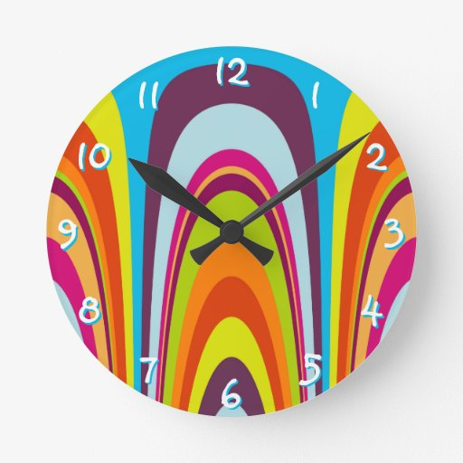 Funky Colorful Waves Wallclock