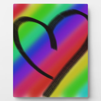 funky coloured love heart plaque