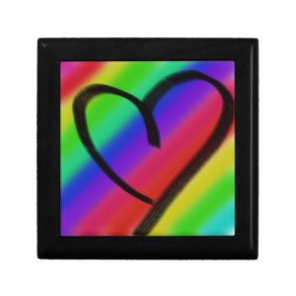 funky coloured love heart small square gift box